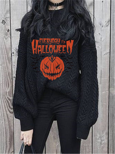 Halloween Women Floral-Print Sweater