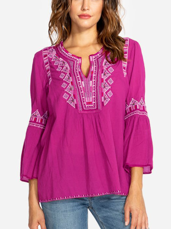 V Neck Elegant Half Sleeve Cotton-Blend Shirts & Tops