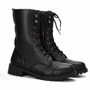 Retro Pu Black Knight Lace Up Flat Ankle Boots