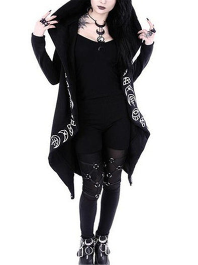 Gothic Moon Pattern Print Long Sleeve Cardigan Sweatshirt