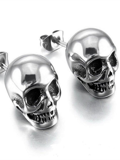 Punk Rock Silver Grey Skull Earrings