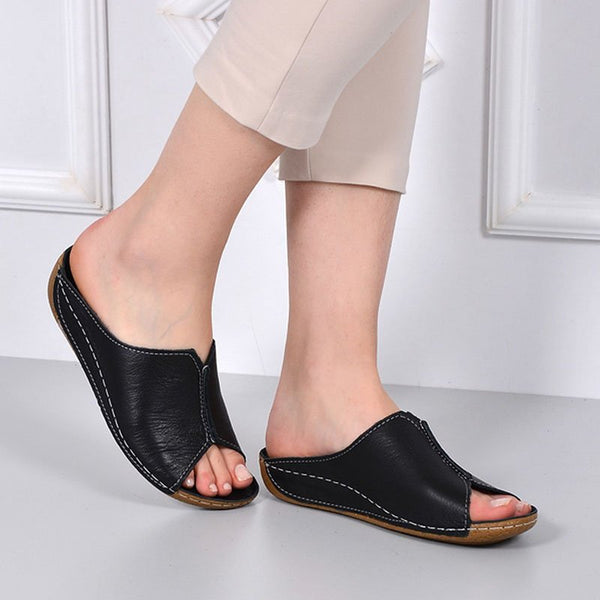 Women Casual Summer Open Toe Comfy Leather Slipper