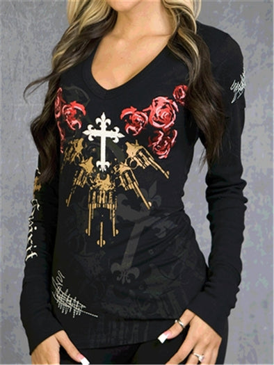 Women's Guns N Roses Print V Neck Long Sleeve Statement t-Shirt Tops