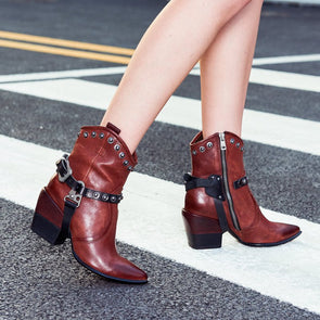 Zipper Daily Block Heel Leather Boots
