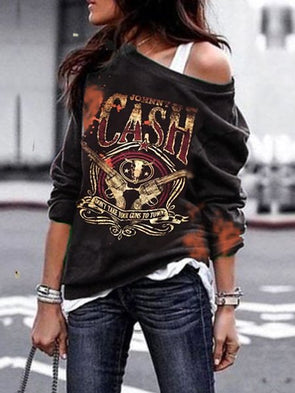 Women's Punk Rock & Roll Vintage Letter Printed Plus Size Scoop Neckline Casual Long Sleeve T-Shirt Top