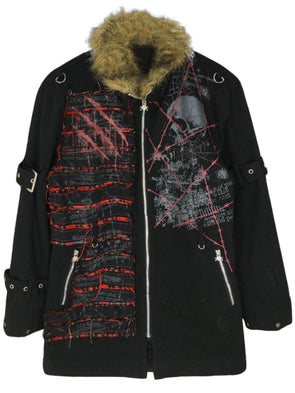 Black Abstract Shift Casual Outerwear
