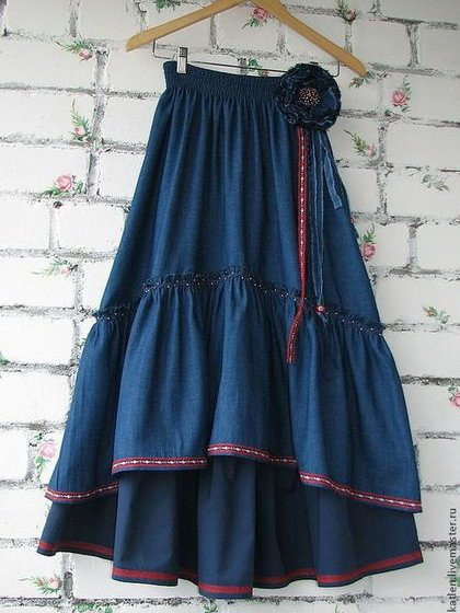 Blue Cotton-Blend Casual Skirts