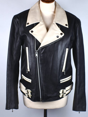 Black-Silver Casual Long Sleeve Leather Outerwear