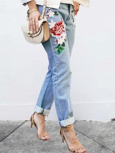 Casual Denim Shift Embroidered Pants