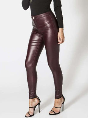 Women Casual Slim PU Leather Sexy Pants