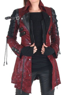 Womens Punk Rock & Roll Faux Leather Decorated Plus Size Long Sleeve Jacket Coat Blazer Outerwear