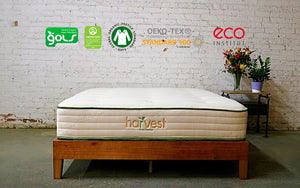 Harvest Organic Green Mattress With Certification Logos