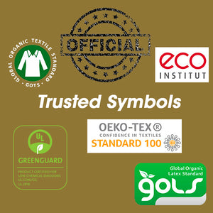 Image illustrates trusted 3rd party product certification logos to look for. GOTS, GOLS, OEKO-TEX, ECO INSTITUT, GREENGAURD GOLD