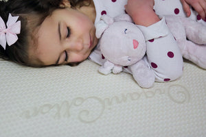 Little Girl Close Up Of Organic Cotton Mattress Cover