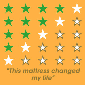 Illustration depicts a glamorous mattress rating.