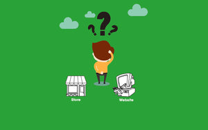 Where's the best place to shop for a mattress? Online or in a store. Illustration depicts a confused shopper.
