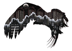Ltd edition a4 print depicting a cityscape within a vulture silhouette from an original illustration artwork by Brighton artist Etienne Le Compte