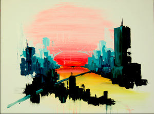 original contemporary cityscape , skyline art