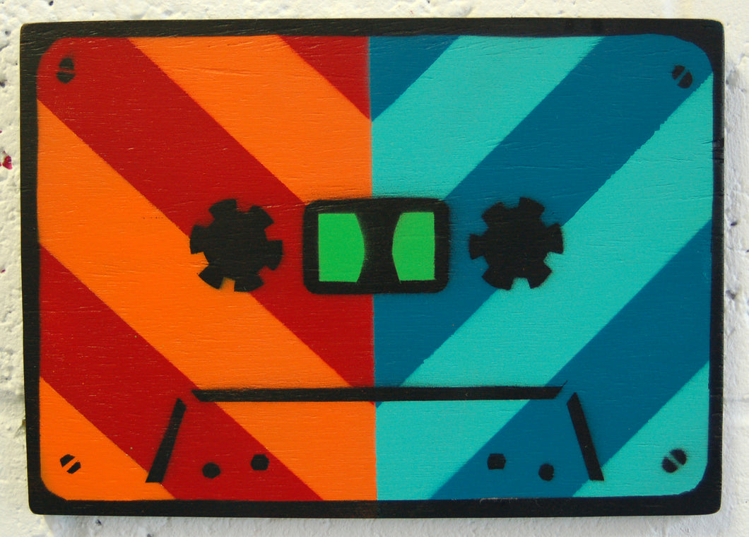 Original contemporary art, spray paint and stencil on wood by Brighton artist Cassettelord