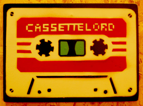 Original contemporary spray paint and stencil art. Cassette Lord Mini-Sette red on cream