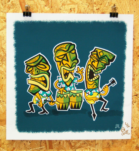 Limited edition giclee print, tiki band illustration