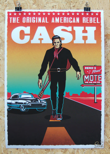 Limited edition A3 giclee print, Johnny Cash illustration art