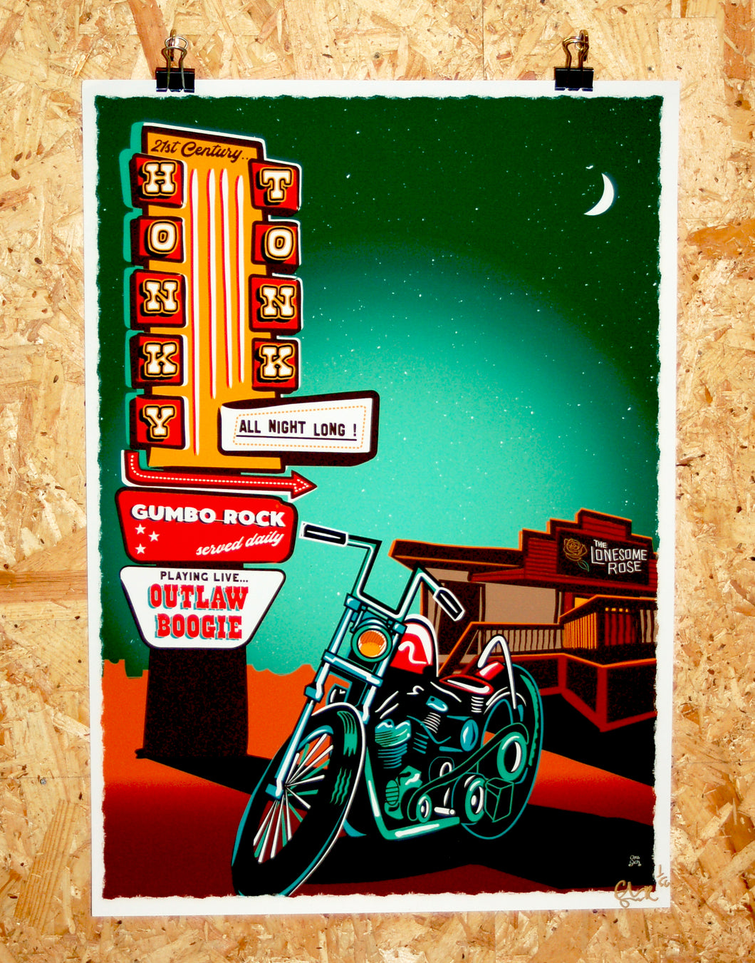 Limited edition giclee print, honky tonk bar illustration