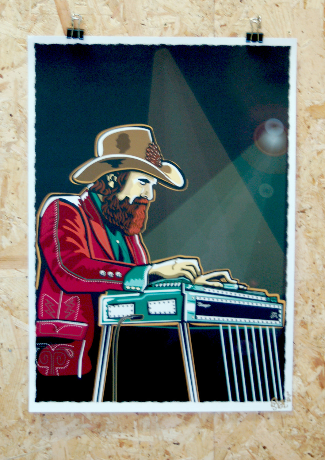 Limited edition giclee print, pedal steel guitar player illustration