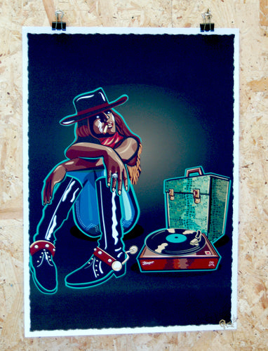 Limited edition giclee print, cowgirl with record player illustration