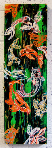 Original mixed media art on canvas, green painterly background, oneline illustration of a group, gasp, of koi carp by Brighton artist Emma Lexington