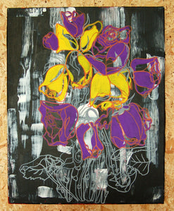 original contemporary art acrylic, oneline flower illustration with colour fills