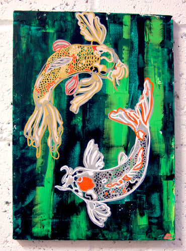 Original mixed media art on canvas, green painterly background, oneline illustration of two koi carp by Brighton artist Emma Lexington