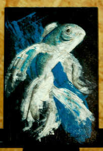 Original contemporary art, blue fish in acrylic paints and inks