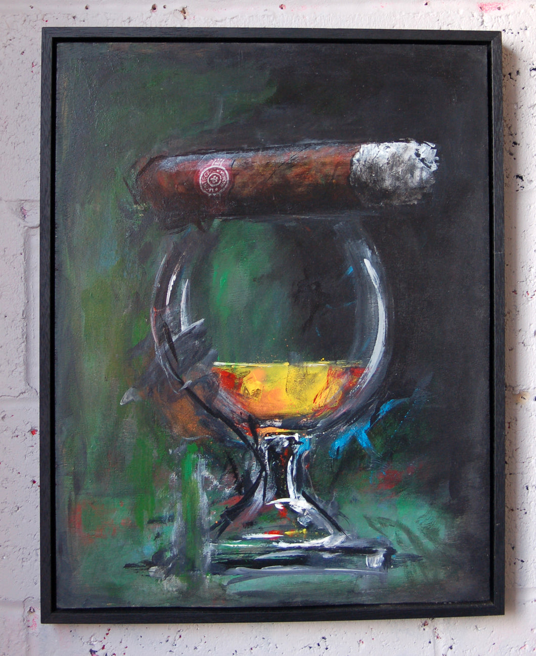 Original mixed media art on wood panel, framed, depicting a glass of brandy and a cigar