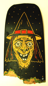 Contemporary illustration witch on skateboard art