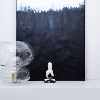 Bougie design en cire de colza BURNING BUDDHA  black & white