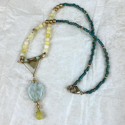 Collier en pierres fines SERENITE opale et fluorite Yoga feel Green