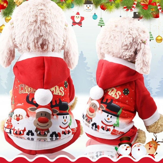 Christmas Dog Clothes Red Coat Tree Pattern Winter Cute Coat  Winter Autumn