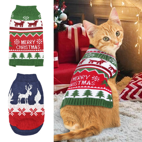 Christmas Winter Knitted Sweater Clothes Clothing For  Cats Pets