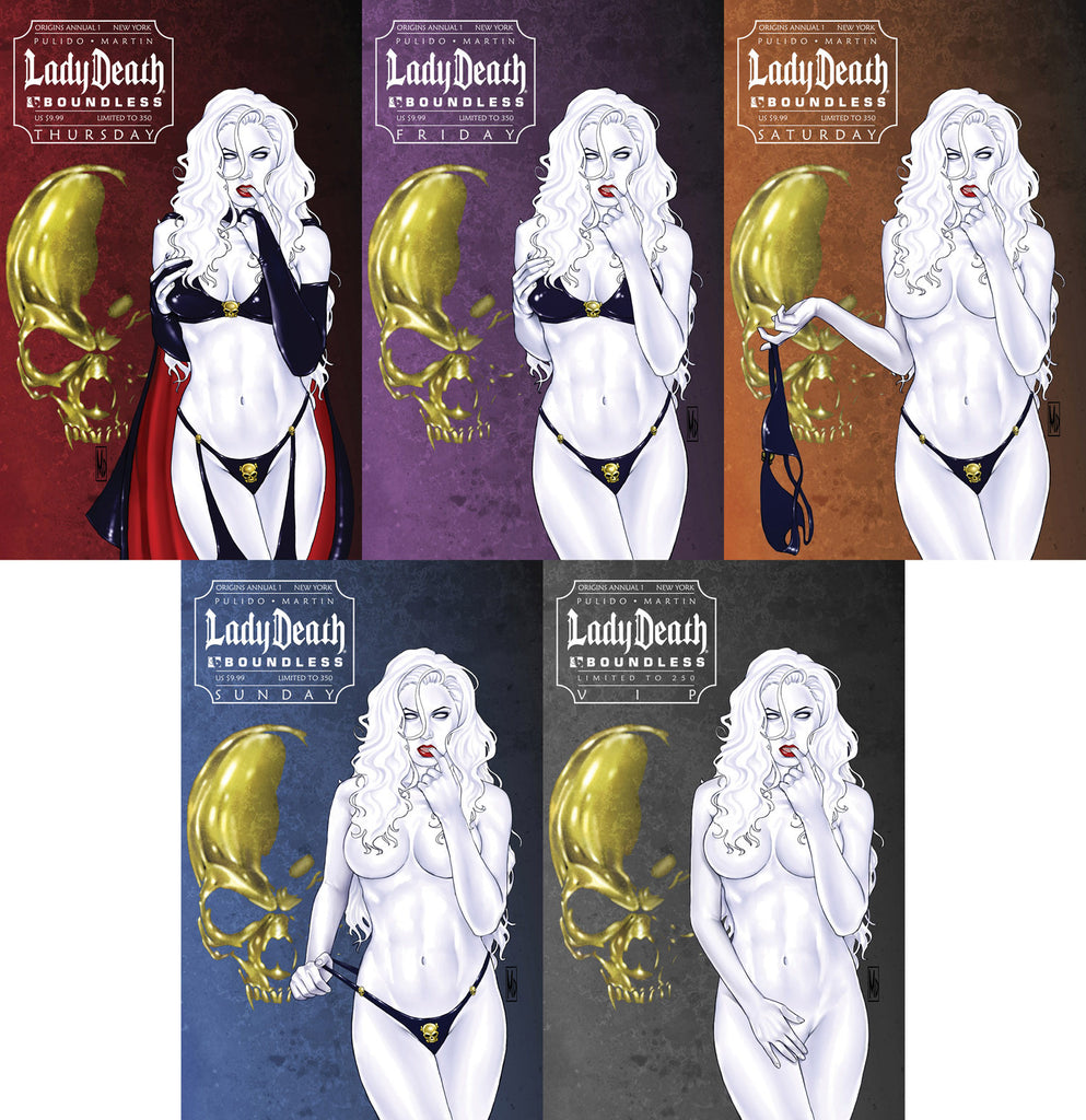 LADY DEATH Origins Annual 1 NYCC 5 cover VIP set