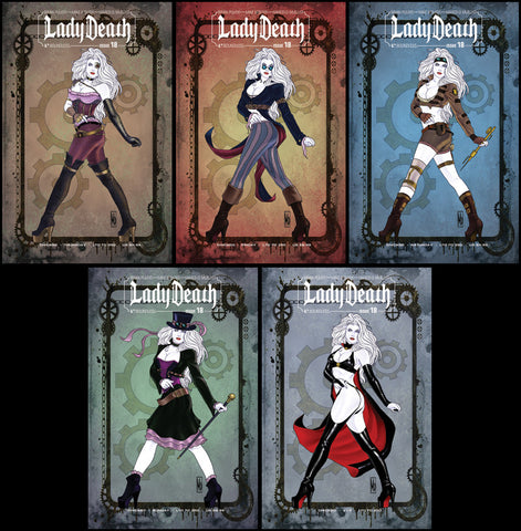 LADY DEATH #18 Steampunk VIP Set with Bonus cvr