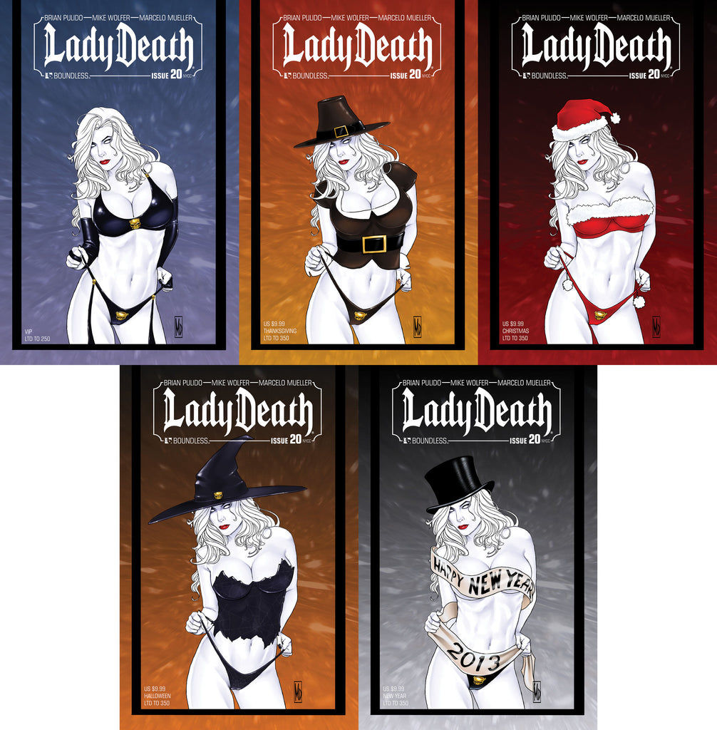 LADY DEATH #20 New York VIP Set of 5 covers