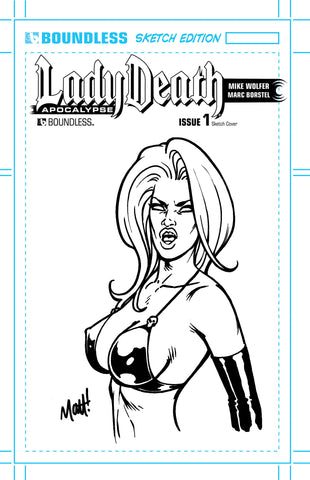 LADY DEATH: APOCALYPSE #1 Original Sketch - Angry