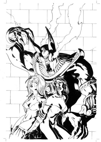 LOOKERS: Slaves of Anubis #1 cover - Original Inked Artwork