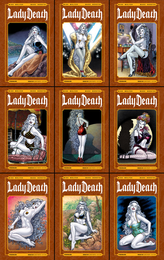 LADY DEATH #25 CLASSIC PINUPS 9 COVER SET
