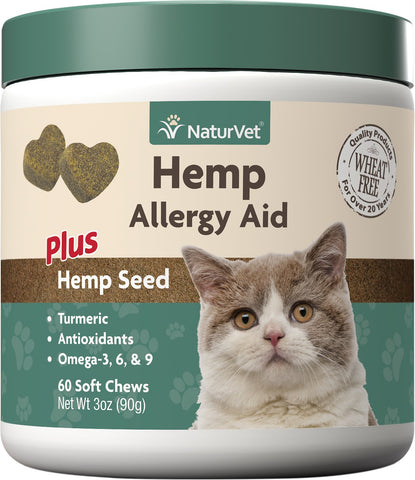 Hemp Allergy Aid Plus Hemp Seed Cat Soft Chews – NaturVet (60 Soft Chews)