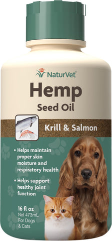 NaturVet Hemp Seed, Krill, & Salmon Oil Dog & Cat Supplement