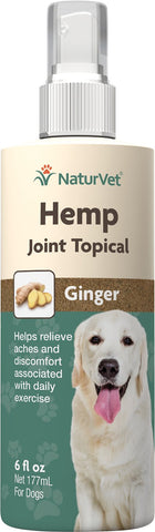 NaturVet Hemp Joint Topical with Ginger Dog Spray (6oz Bottle)