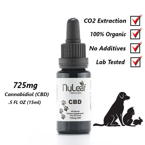 NuLeaf 725mg Broad Spectrum Pet CBD Oil, High Grade Hemp Extract (50mg/ml)