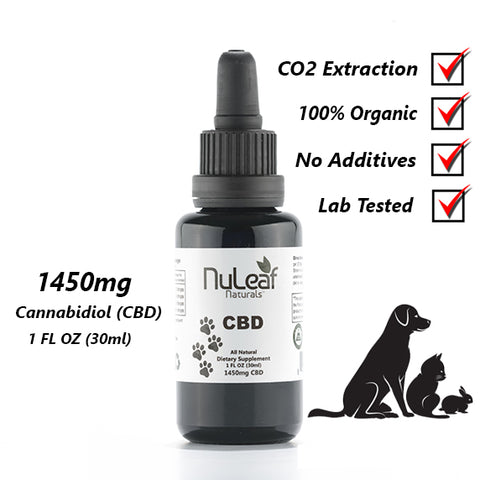 NuLeaf 1450mg Broad Spectrum Pet CBD Oil, High Grade Hemp Extract (50mg/ml)